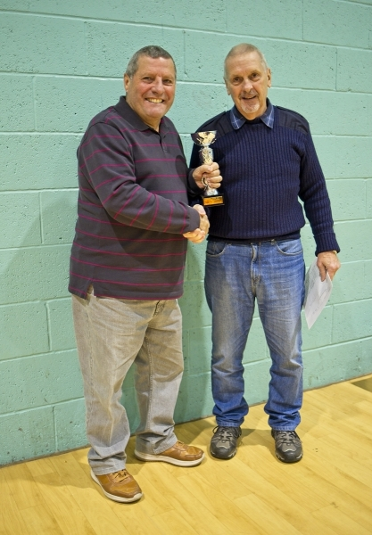 Keiran Tilley Receives The  Division 1 Runners Up Trophy GMWF Over 65's Autumn League 2018