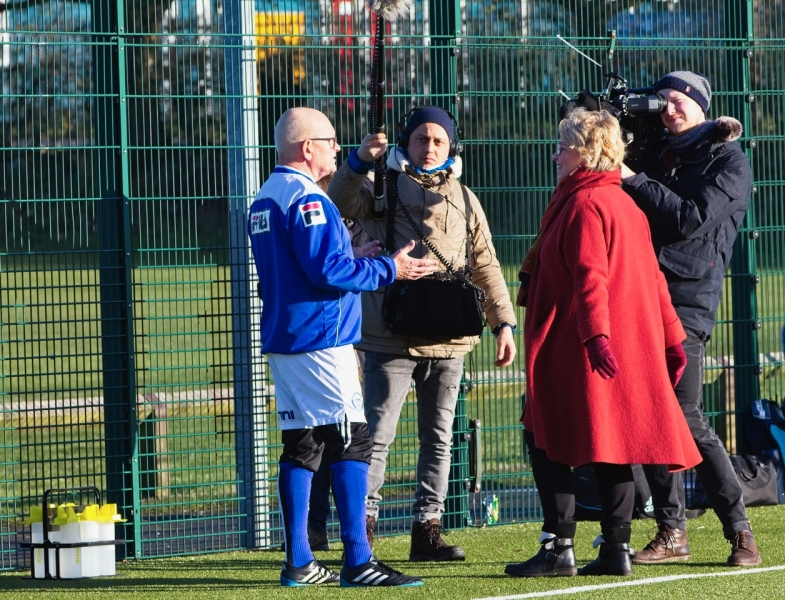 Steve Colesby Of Rochdale AFC Strollers Is Interviewed By The ARD German TV Film Crew At The GMWF Autumn League Dec 2017