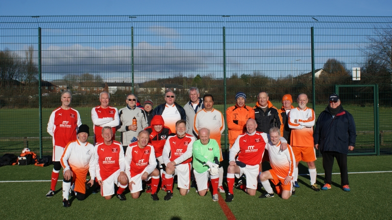 The AFC Blackpool Senior Seasiders & Fleetwood Town Flyers Teams Line Up Together At The GMWF Autumn League Dec 2017