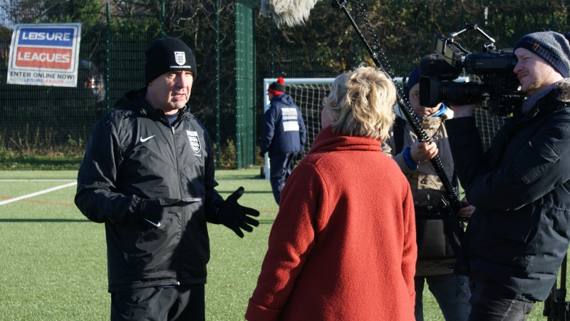 Referee Mike Willmore Being Interviewed By ARD German TV At The Autumn League Dec 2017