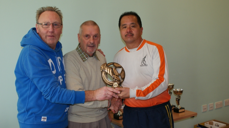 Mick Tarpey (Roach Dynamos) & Wai Hon Tsang (AFC Blackpool Senior Seasiders) Joint Winners Of The Golden Boot At The GMWF Autumn League Dec 2017 Presentation