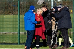 Dave Brookes Of Rochdale AFC Strollers Is Interviewed By The ARD German TV Film Crew At The GMWF Autumn League Dec 2017