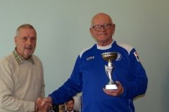 Steve Colesby (Rochdale AFC Strollers) Receives The Division 1 Winners Trophy At The GMWF Autumn League Dec 2017 Presentation