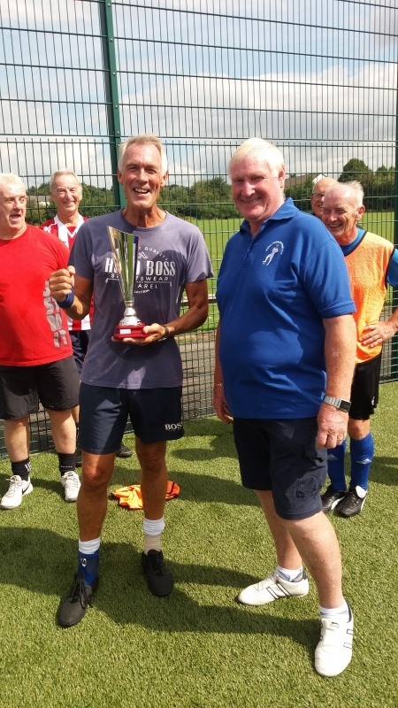 Manchester Corinthians Training Session 01.08.18 & Dave Powell, Chairman of the CWF League, Presents Dave Wilde With The Cheshire Walking Football Summer Trophy
