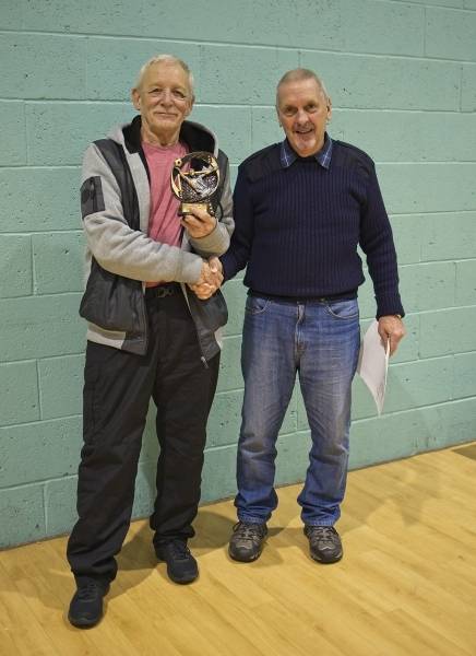 Ron Blakeley Receives The GMWF Over 65's Autumn League 2018 Golden Gloves Trophy