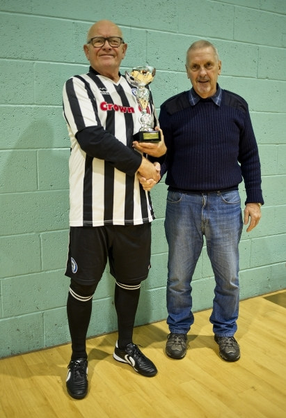 Steve Colesby Receives The GMWF Over 65's Autumn League 2018 Division 1 Winners Trophy