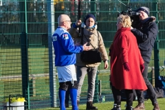 Steve Colesby Of Rochdale AFC Strollers Is Interviewed By The ARD German TV Film Crew At The Autumn League Dec 2017